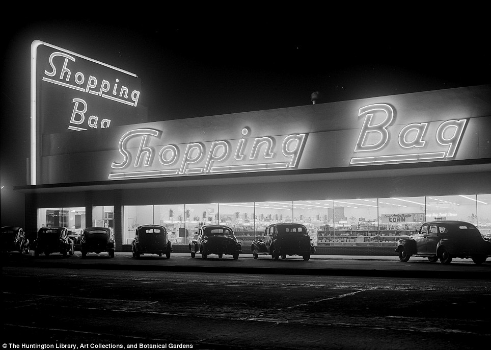 Shopping Bag Market, (Doug White): The neon lighting on this supermarket was ' as effective during daylight hours as it was at night'
