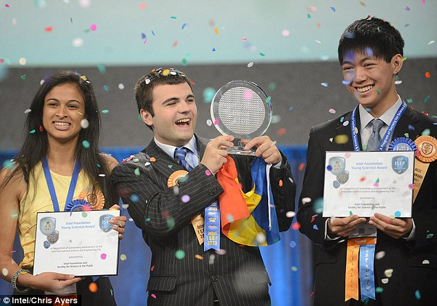Eesha Khare (left), Ionut Budisteanu (center) and Henry Wanjune Lin (right) claimed the top three prizes at this year?s Intel International Science and Engineering Fair in Phoenix