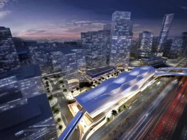 Sleek: An aerial view of the new station, the design of which is based on Saudi Arabia's wind-swept sand dunes