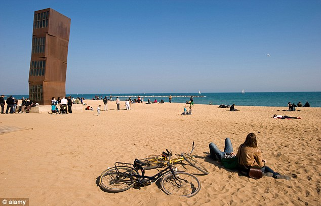 Design: Artwork on the coastline of Barcelona. The city is famous for its culture