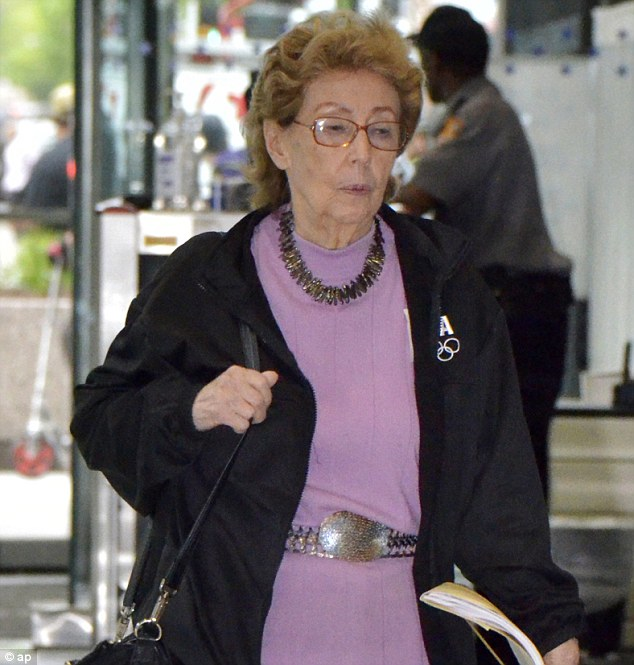 Bait and switch: Jacqueline Goldberg, 87, leaves the federal building in Chicago after testifying in a lawsuit alleging that Donald Trump cheated her in a bait-and-switch scheme