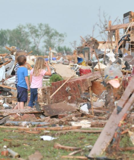 A devastating, two-mile-wide tornado touched down near Oklahoma City