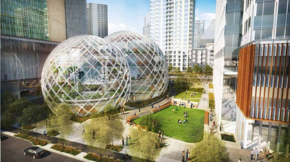 Amazon's domes will be built in the shadow of a skyscraper that the online retailer is also planning to build.
