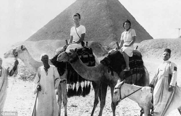 Trip: Kennedy and one of his sisters ride camels in Egypt in 1939