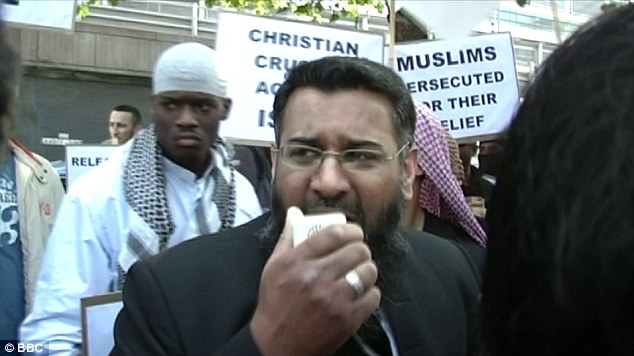 Foreground: Anjem Choudary; Background: The Woolwich Beheader