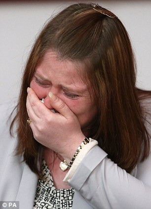 Distraught: Rebecca Rigby, the wife of murdered soldier Lee Rigby, cries during a family press conference today