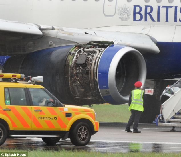 The starboard wing appears to be charged after the plane made the emergency landing at Heathrow