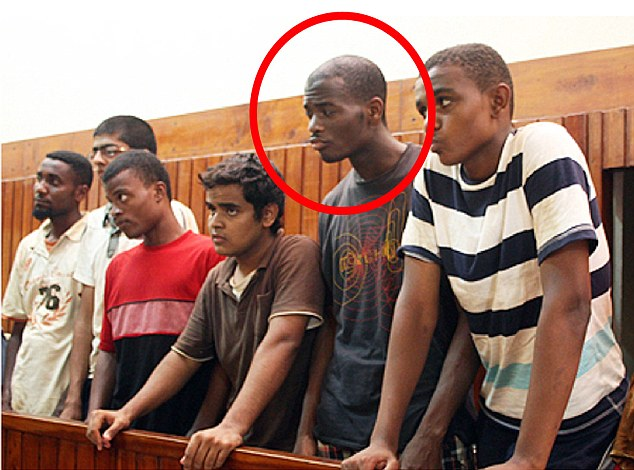 Michael Adebolajo in a Kenyan court in 2010 with five other men after he attempted to cross the border