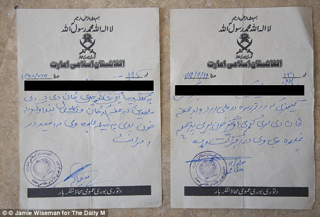 Warning: Pictured here are the letters to Karim Hushimi left at his home bearing the Taliban stamp, threatening his life for working with the British