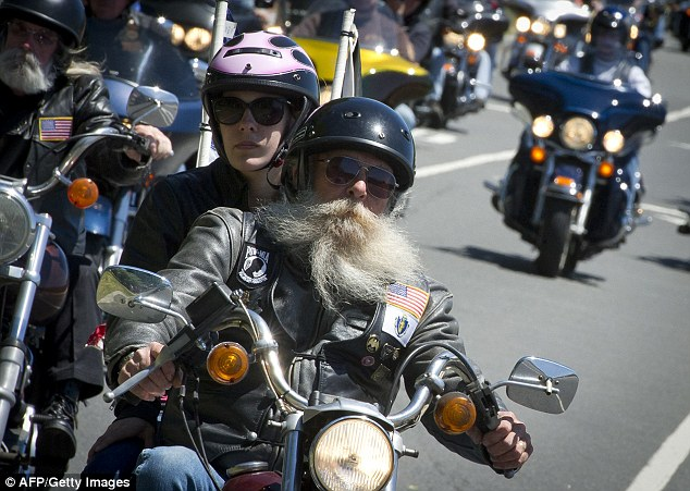 Scruffy: Most of the bikers sported long beards - many of which were gray or white with age