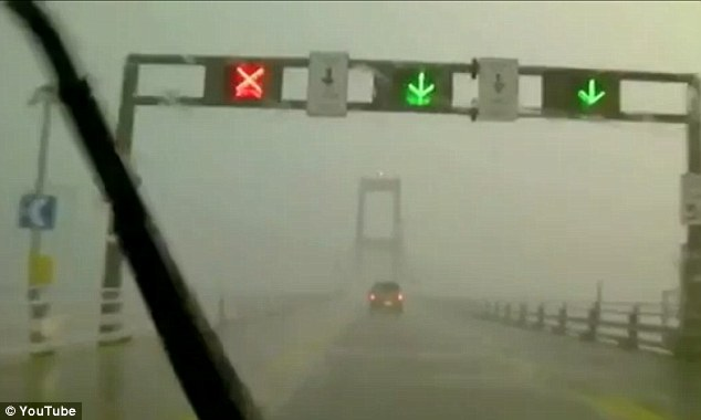 Bad weather: The area is subject to violent storms, which makes driving the bridge particularly perilous as shown in this video