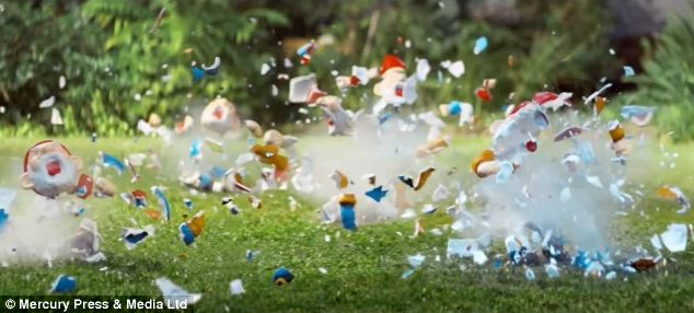 The advert shows a married couple 'killing off' an invasion of angry garden gnomes in a range of increasingly violent ways