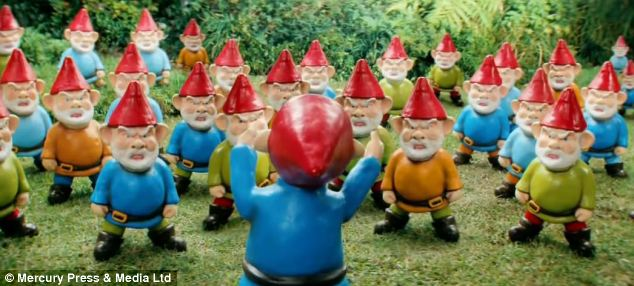 The gnomes rebel against the new additions at the married couple's home in the Ikea advert