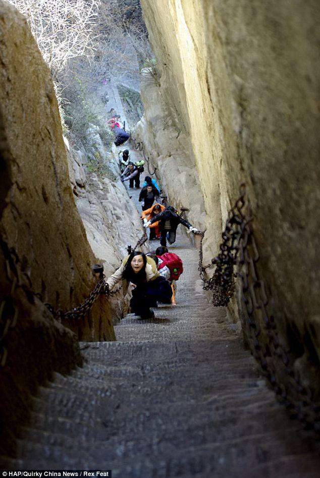 The precipitous chang kong cliff road on haushan mountain