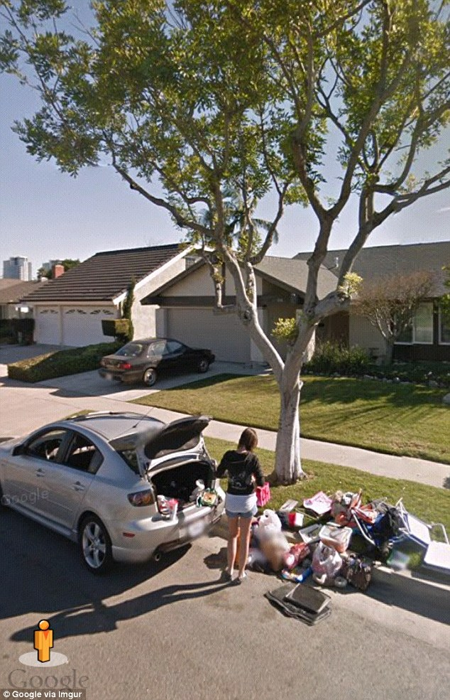 Girl being thrown out , Google Street View.