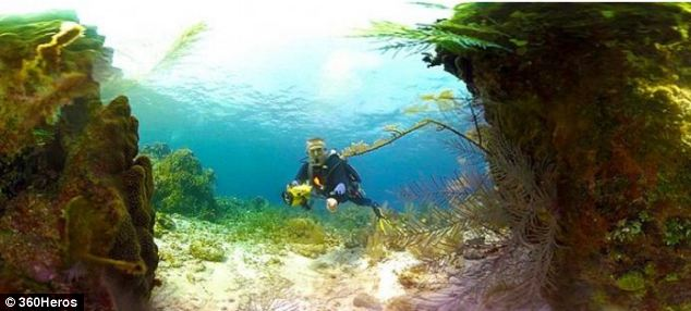 Using snap-on domes, the 360Heros mounts can be made fully waterproof. This image was taken during a scuba diving expedition in Belize