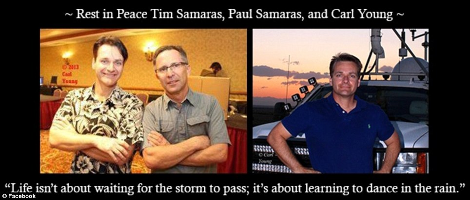Deadly profession: Storm chasers Tim Samaras (center) and crew member Carl Young (right) were killed on Friday in a tornado that ripped through El Reno, Oklahoma