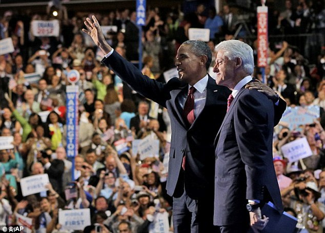 Best of friends: Clinton's speech saw a boost in voter approval for Obama at at time when his campaign was flagging