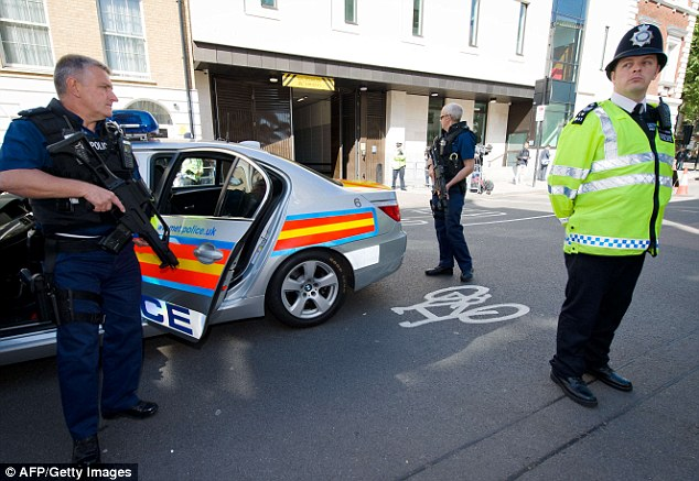 Police presence: Large numbers of officers were brought into Central London to guard the court while Adebolajo was inside