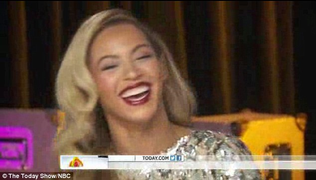 Keeping mum: Beyoncé has kept fans guessing after being quizzed over reports she is pregnant again, seen here in an interview which aired on the Today show on Monday