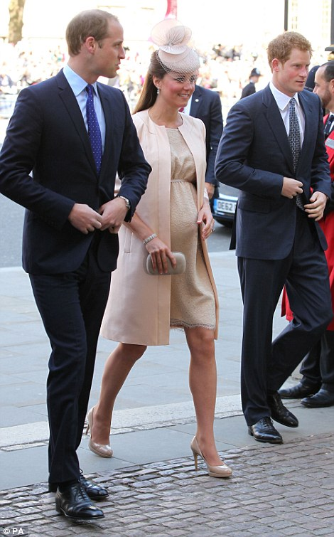 Prince Harry (right), his brother William, left and the Duchess of Cambridge arrive