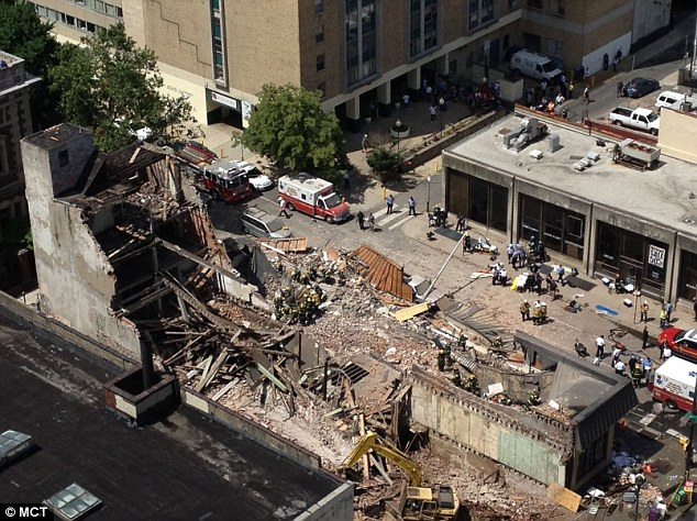 Destroyed: A building has collapsed at 22nd and Market streets in Philadelphia, Pennsylvania