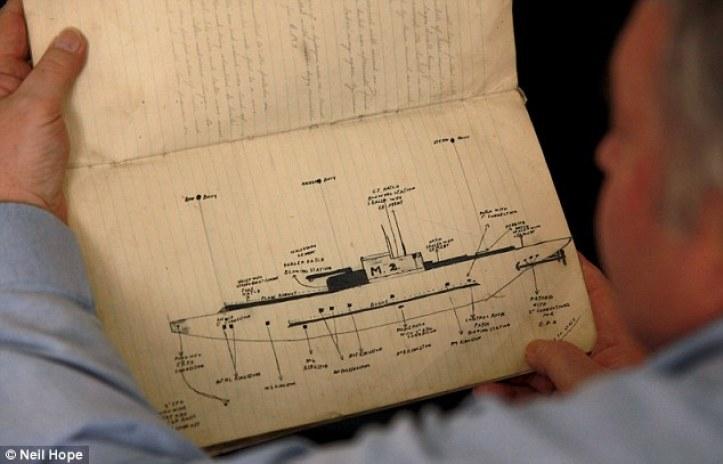 El diario decoloración fue redescubierto por la familia de buzo naval nacido en Plymouth que han participado en una operación de salvamento de un año para recaudar primer portaaviones submarino del mundo, el HMS M2
