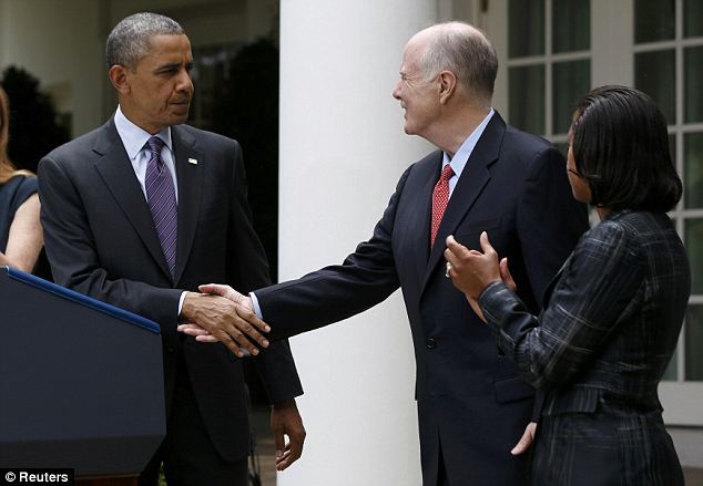 Timing: The revelation comes the same day as President Obama announced his appointment of Susan Rice (right) to be the new head of the NSA, replacing Tom Donilon (center)