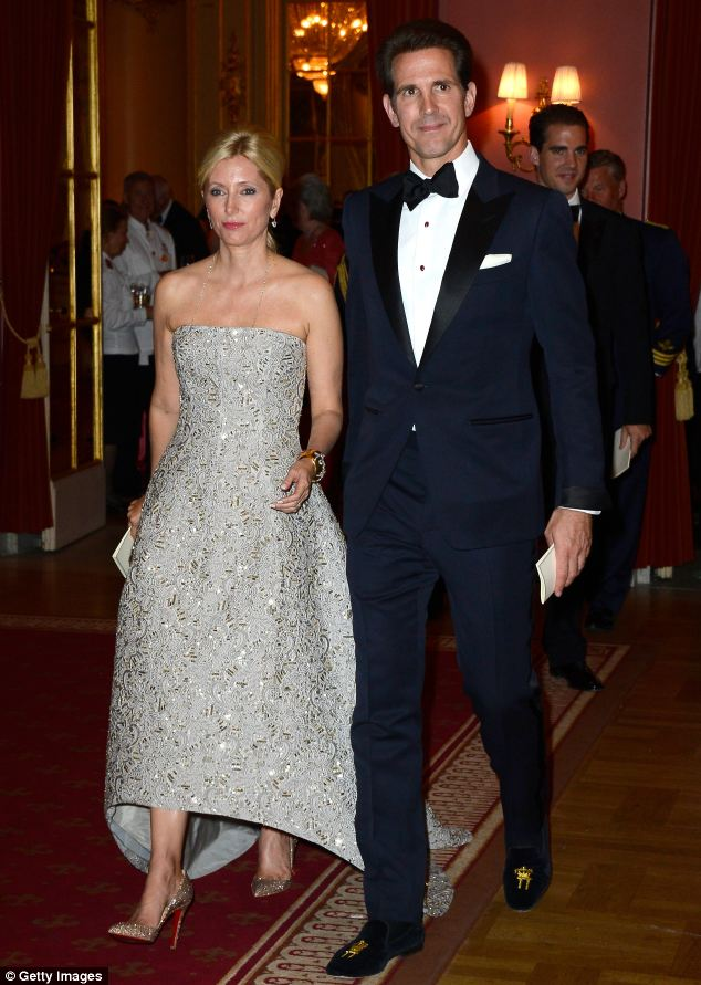 Crown Princess Marie-Chantal of Greece and Crown Prince Pavlos of Greece arrived ate The Grand Hotel in Stockholm