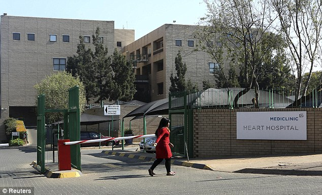 'Conscious': Mr Mandela is believed to have been admitted to the private Mediclinic hospital in Pretoria, in South Africa's Gauteng Province