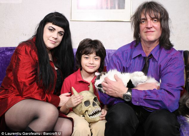 Vampire mom: Ms Caples with her ex-husband Donald Lazarowicz and their son Alexei, nine