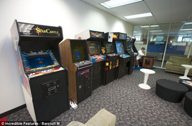 Assorted video games, all free, are available anytime for employees needing a break in Mountain View, California