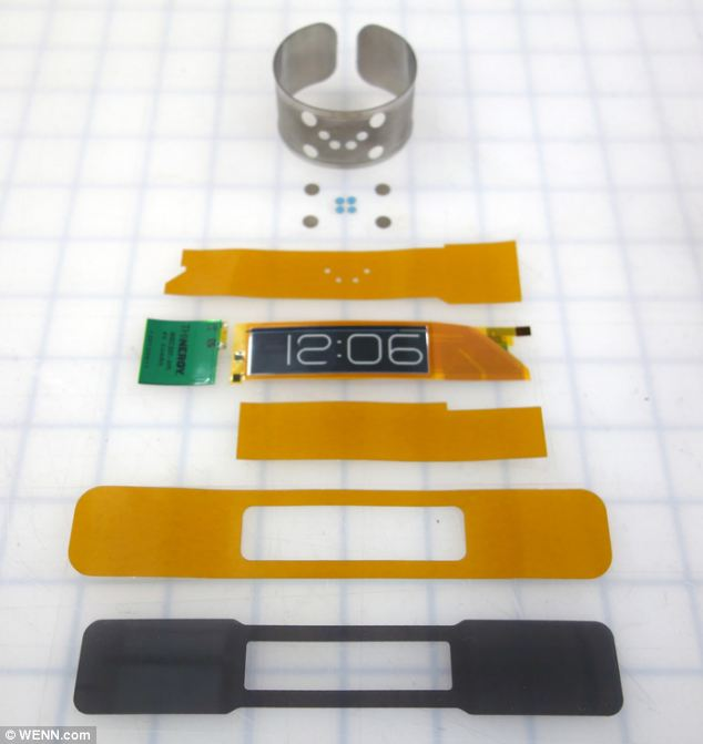 This image shows all the components that go into the CST-01 flexible wristwatch.