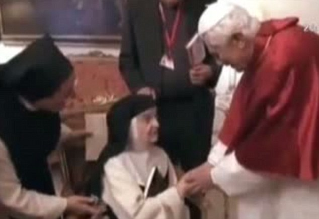 Sister Teresita met the now retired Pope Benedict XVI in 2011 when he visited Madrid