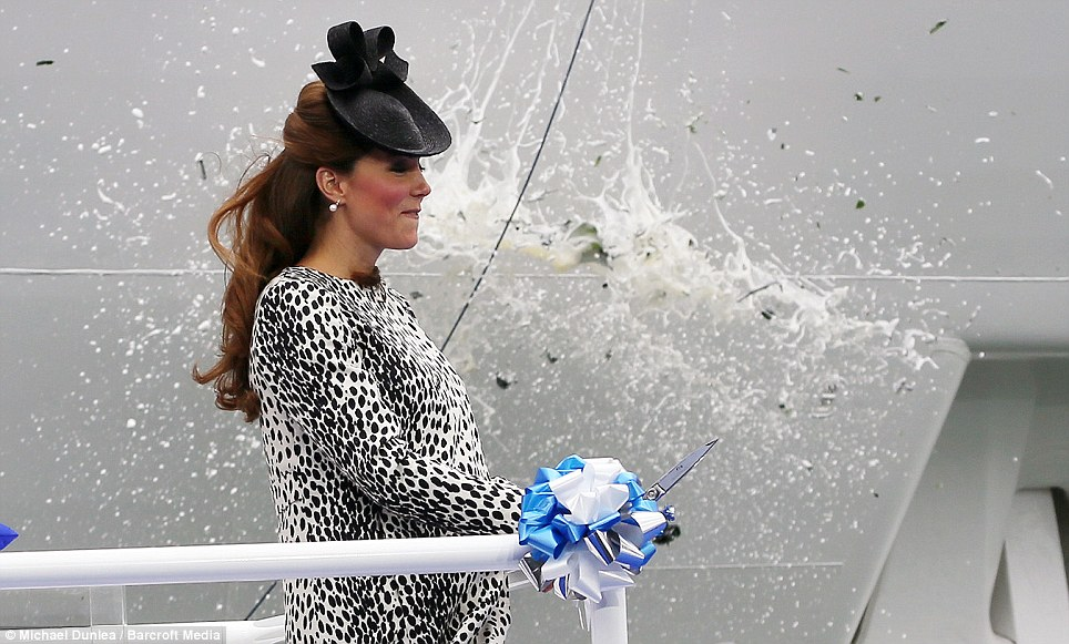 Near miss: The Duchess of Cambridge blinks as the nebuchadnezzar smashes against the ship's hull just metres from her face