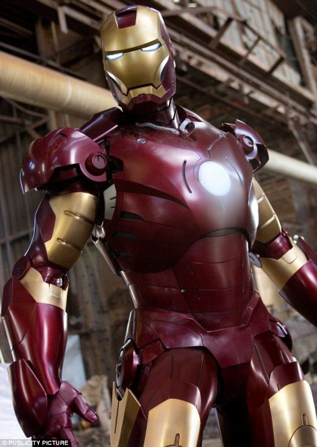 In action: The star in his Iron Man superhero suit