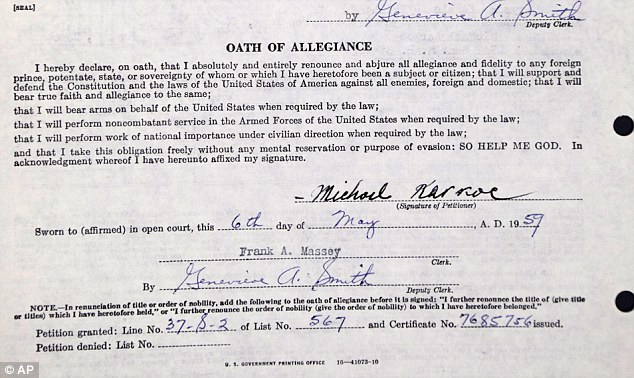This is the oath of allegiance on Michael Karkoc's petition for naturalization, signed May 6, 1959
