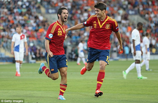 Isco fever: The Spain Under 21 star (left) is close to joining Manchester City, according to Sportsmail sources