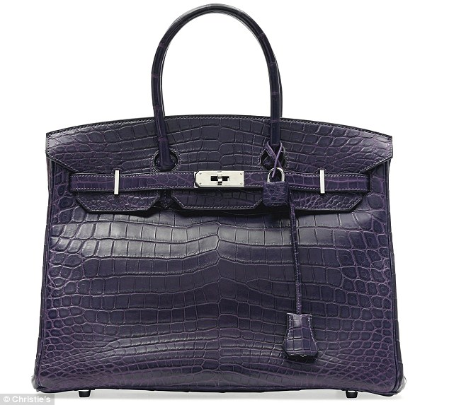 Top seller: Lot 33, the 2011 35cm amethyst matte crocodile Birkin bag has a whopping final sale estimate of up to £28,000