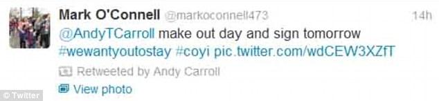 Andy Carroll retweet