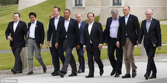 Tensions and rivalries: Leaders walk out at the G8 Summit, at Lough Erne, near Enniskillen, in Northern Ireland