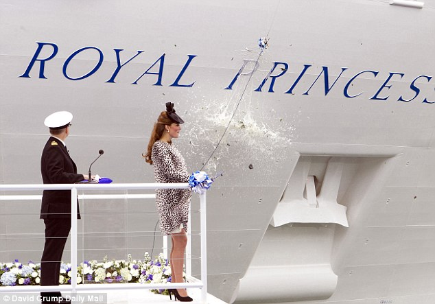 Royal princess? The Duchess of Cambridge names The Royal Princess ship at Southampton last week by smashing a bottle of champagne on its hull