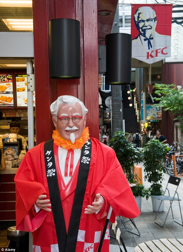 Popular: Col Sanders is well known in Japan, where the KFCs have statues of him outside