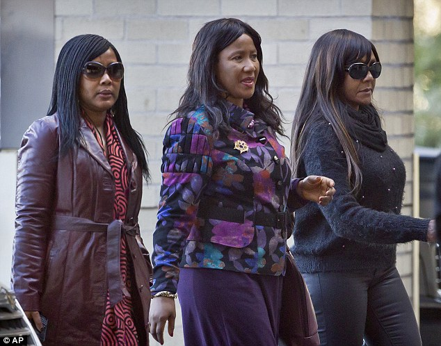 Mandela's daughter Makaziwe Mandela pictured center with granddaughters Tukwini Mandela, left, and Ndileka Mandela, right, arrive at the Mediclinic Heart Hospital where Nelson Mandela is being treated earlier this month