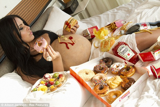 Pre North: Kim is seen indulging in unhealthy food before giving birth