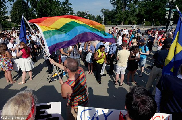 Victory: Crowds celebrated after the Supreme Court ruled that same-sex marriages should be legally recognized as valid across the U.S. and California no longer has a ban against same-sex marriages