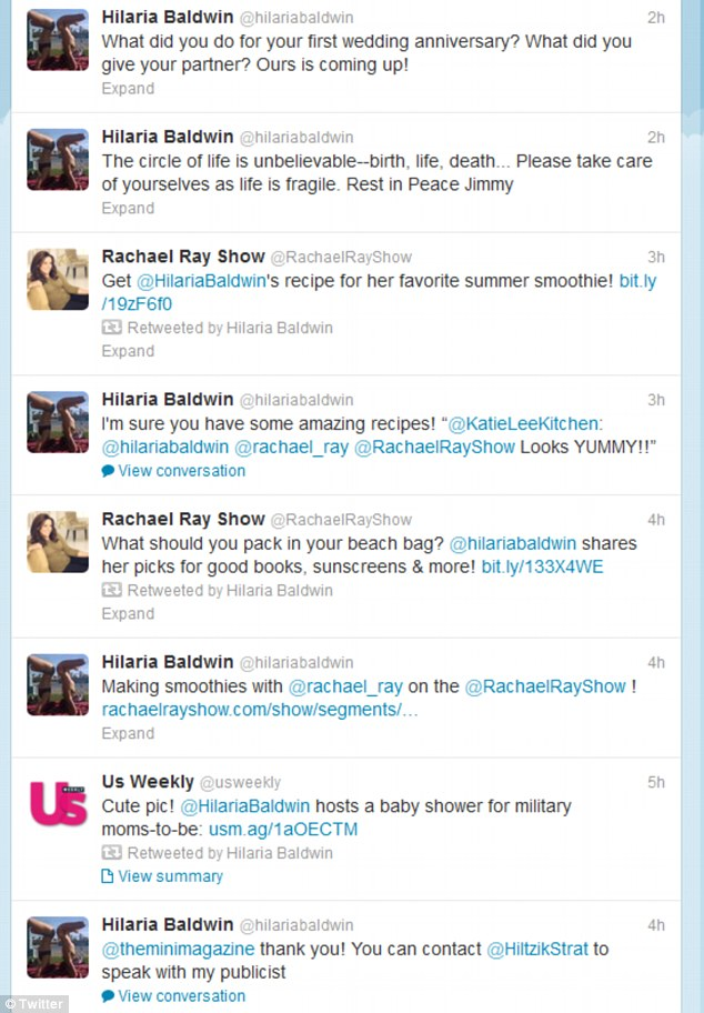 Grieving and tweeting: Hilaria's busy Twitter feed during the hours of the actor's service