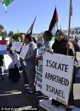 Outside Cape Town's parliament building protesters demonstrated against America's support of Israel