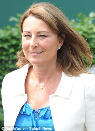 On their way: Carole Middleton is with her daughter (pictured at Wimbledon)