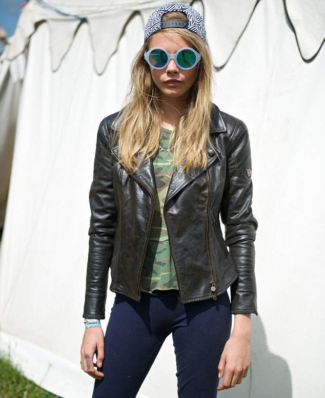 Trendsetter: Cara was also seen posing up in her Matchless jacket and Le Specs sunglasses